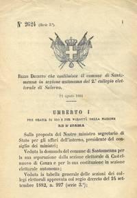 che costituisce il comune di Santomenna in sezione autonoma del 2° collegio elettorale di Salerno.