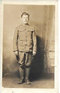 image of Pre WWI Soldier Posing on One-of-a-Kind AZO Real Photo Postcard RPPC