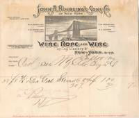 "John A. Roebling's  Sons Co. Wire Rope and Wire""  Brooklyn Bridge Letterhead,  Paid Purchase Invoice, Sept. 17, 1900"