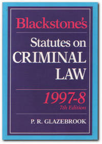 Blackstone's Statutes On Criminal Law: 1997-8