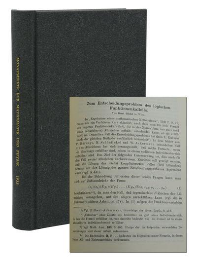 Leipzig: Akademische Verlagsgesellschaft, 1933. First Edition. Very Good. Kurt Gödel's