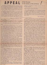 Appeal of Earl Browder to the members of the C.P.U.S.A.