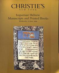 Sale 9192, 23 June 1999 : Important Hebrew Manuscripts and Printed Books.