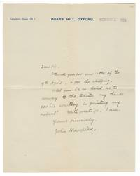 Autograph letter signed, 1929 by  John MASEFIELD - from Riverrun Books & Manuscripts (SKU: 406498)