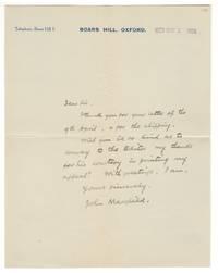 Autograph letter signed, 1929