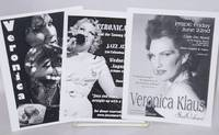 image of Three postcard-size handbills for performances by  Veronica Klaus