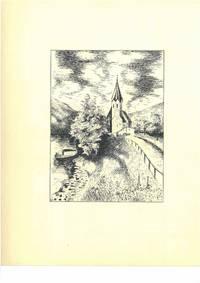 Ohne Titel [Kirche, Boot, Fluß, Landschaft], ca. 1950. Schwarze Tusche und Bleistift auf weißem Papier.