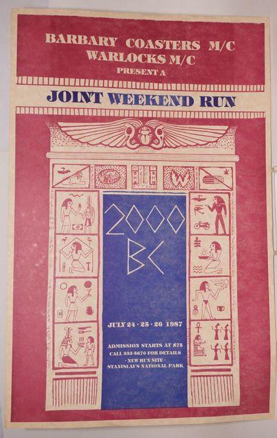 San Francisco: Barbary Coasters M/C, 1987. POSTER. Single sheet 11x17 inch poster, maroon and blue i...
