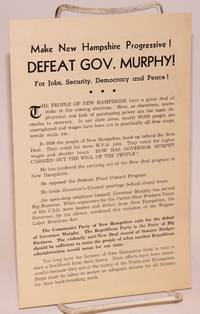 image of Make New Hampshire progressive!  Defeat Gov. Murphy!  For jobs, security, democracy and peace!
