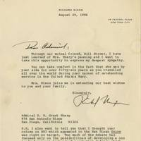 Former President Richard Nixon, Who Initiated Detente With the Soviet Union, Approves of President Reagan's Strategic Defense Initiative, and Feels It Ought to Protect our counter-force missile silos which presently are vulnerable to a first strike A rare and important letter of one President relating to another, showing the continuity in U.S. Cold War policy, as a summit with Gorbachev approached.