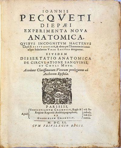 incognitum hactenus Ioannis pecqueti experimenta nova anatomica, quibus incognitum hactenus chyli receptaculum, & ab eo per thoracem in ramos usque subclavius vasa lactea deteguntur.