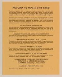 AIDS and the health care crisis [handbill]