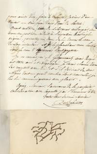 Autograph letter signed to Pierre Hippolyte Boutigny, accompanied by watercolor sketch of an alga