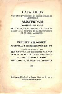 Sale 8&9 juni 1938: Cat. van den uitgebreide en keurig geordende  verzameling 'Amsterdam. Voorheen en Thans'. Sedert jaren bijeengebracht  door de heeren K... Benevens de kunst verzameling H. Parsons, A'dam.