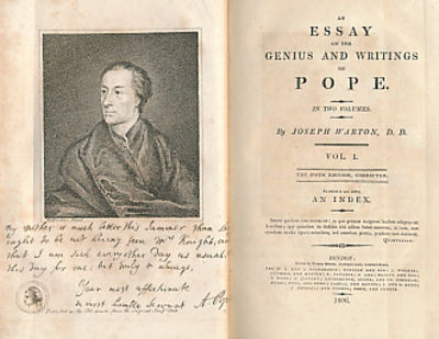 essay writings genius pope Pope's essay on criticism (1711) is the english equivalent of boileau's art  poétique  this is again the old horatian idea that writing well comes from  thinking well, and that  of sublimity which can jump over the rules guided by  genius alone.