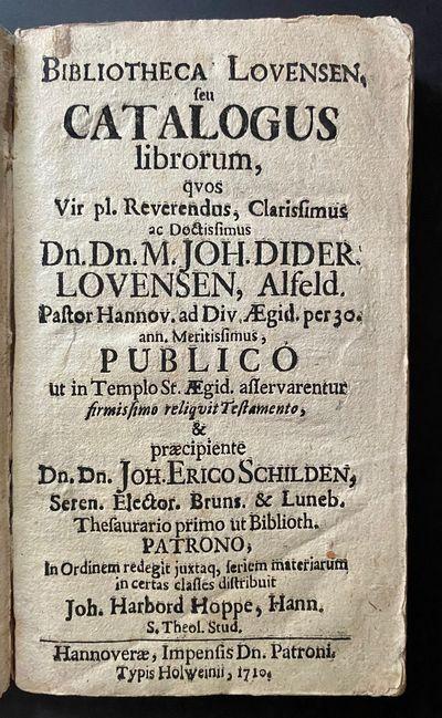 Bibliotheca Lovensen. seu Catalogus...