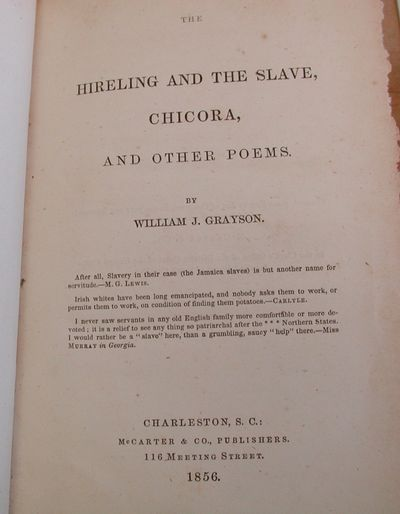 Charleston: Mccarter & Co, 1856. Second Edition. Decorative Cloth. Very Good. In brown blindstamped ...