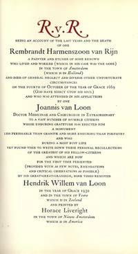 R.V.R.: Rembrandt Van Rijn