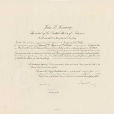 29/06/1961. John F. Kennedy Document Signed as President, Washington, June 29th, 1961, partially pri...