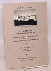 image of Homenaje a la Republica Dominicana; [brochure/program] con motivo de la conmemoracion del CVIII aniversario de su independencia, Sábado 23 de Febrero 1952, Italian Room, Hotel St. Francis