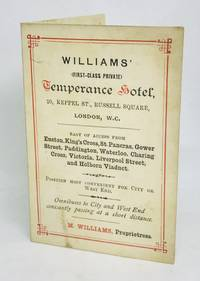 [MENU] WILLIAMS' (First-Class Private) TEMPERANCE HOTEL 20, Keppel St., Russell Square
