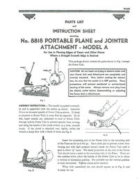 MILLERS FALLS No. 8818 PORTABLE PLANE and JOINTER Attachment - MODEL A Part list and Instructions