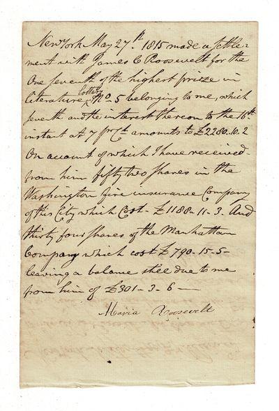 New York: May 4 and 27, June 19, 1815. Manuscript 7¼
