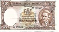 image of New Zealand 10 Shilling Banknote (1956) Pick # 158 FINE+ Condition