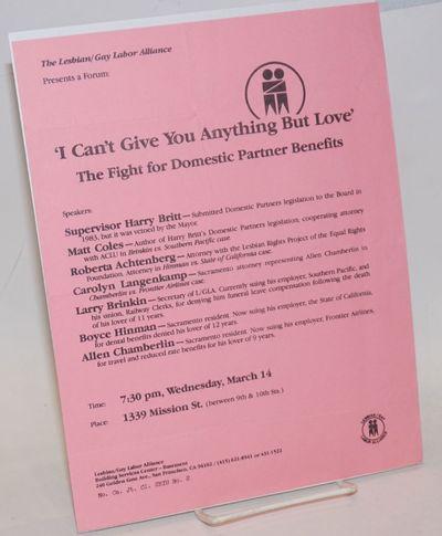 San Francisco: The Lesbian/Gay Labor Alliance, 1984. Single sheet handbill, 8.5x11 inches, pink stoc...