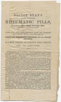 image of (Small handbill): Doctor Dean's Patent Vegetable Rheumatic Pills, Prepared by Ezra Dean, Cambridge, Mass., Fornerly of Bideford, Maine