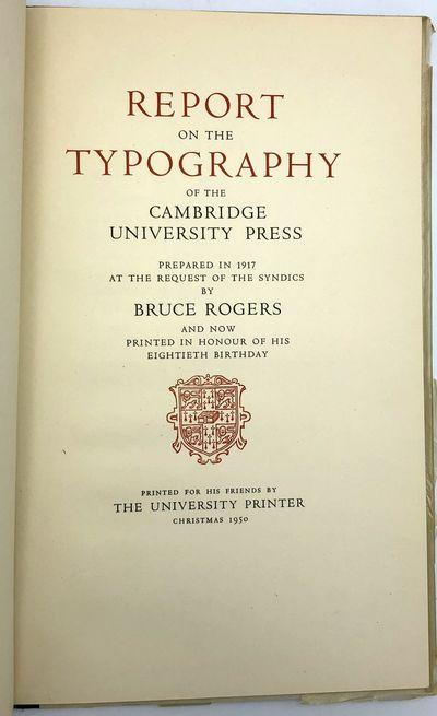 Cambridge: The University Printer, 1950. Tall 8vo. viii, 33 pp. Original cloth-backed boards; glassi...