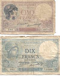 France 5 Francs (1929)  & 10 Francs  (1930) AG Condition - Pick # 72