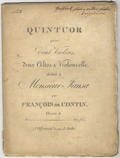 Offenbach s/m: J. André , 1821. Folio. Unbound. Violino primo: (title), (blank), 3-11, (blank) pp.;...