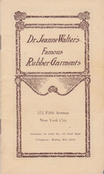 New York: Dr. Jeanne Walter, n.d. . 24mo (5 3/4 x 3 7/16 inches; 143 x 88 mm), 23, pages, in printed...
