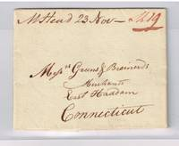 1805 stampless letter with MHead manuscript postmark & mss Ship 19 for carriage to East Haddam Ct