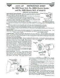MILLERS FALLS No. 888 POWER UNIT; No. 0888 Electric Sander, No. 1888 Electric Drill - MDL B Part...
