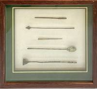 Roman surgical instruments (framed; set of 5)