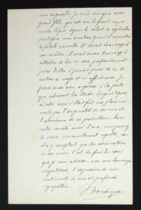Lettre autographe signée à Hélène Pichon-Janet