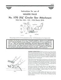 "MILLERS FALLS No. 1170 5-1/2"" Circular Saw Attachment Instructions"
