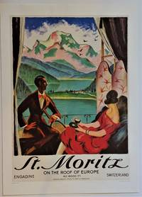 """St. Moritz """"On the Roof of Europe""""  ( Offset Lithograph Reproduction Poster)"""