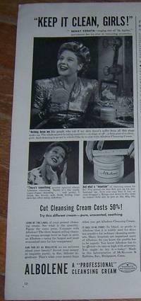 1942 ALBOLENE CLEANSING CREAM WORLD WAR II LIFE MAGAZINE ADVERTISMENT