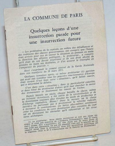 Paris: Imprimerie - Editions Polyglottes, 1970. Pamphlet. 8p., self-wraps pamphlet, staple-fastened ...