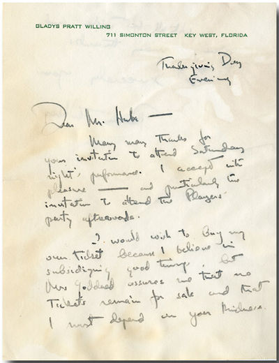 Key West, FL, Evening, Thanksgiving Day, . 1 1/3 pages, in ink, on recto and verso of octavo sheet o...