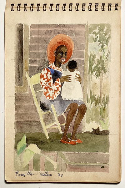 SKETCH BOOK by HENRY ELLIS MATTSON Containing Twenty-Eight full Watercolors, created 1940–1942, mo...