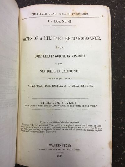 Washington: Wendell and Van Benthuysen, Printers, 1848. First Edition, House of Representatives issu...