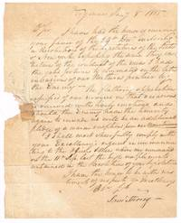 1815 Stampless autographed letter signed from Gen General Samuel Strong of the Vermont Militia to the Governor of New York state