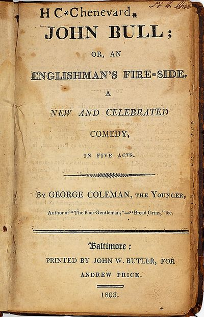 (Sammelband. Five English plays in one volume (all published in America 1795-1803) 12mo. Contemporar...