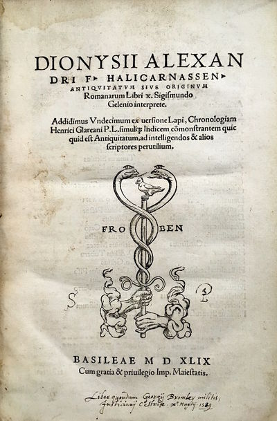Basilaea: Froben, 1549. Hardcover. Quarto, 518 pages; VG; spine brown leather with red label and gil...