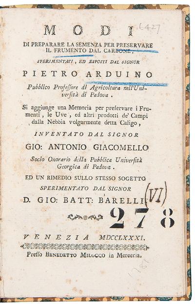 Venice: Benedetto Milocco, 1781. 8vo. (6 3/4 x 4 1/2 inches). 36pp. Later paper boards. An essay abo...