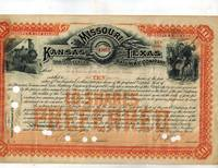 image of Stock Certificate for 10 Shares in the Missouri, Kansas and Texas Railway Company